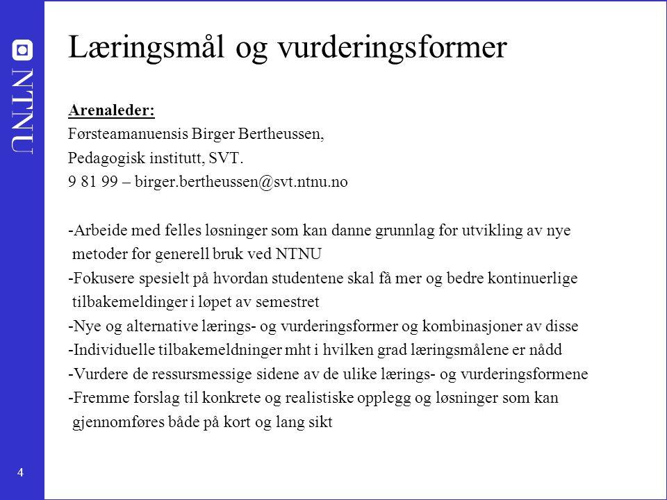 4 Læringsmål og vurderingsformer Arenaleder: Førsteamanuensis Birger Bertheussen, Pedagogisk institutt, SVT. 9 81 99 – birger.bertheussen@svt.ntnu.no