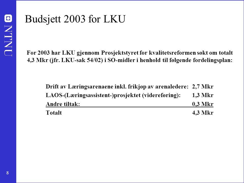 8 Budsjett 2003 for LKU For 2003 har LKU gjennom Prosjektstyret for kvalitetsreformen søkt om totalt 4,3 Mkr (jfr. LKU-sak 54/02) i SO-midler i henhol