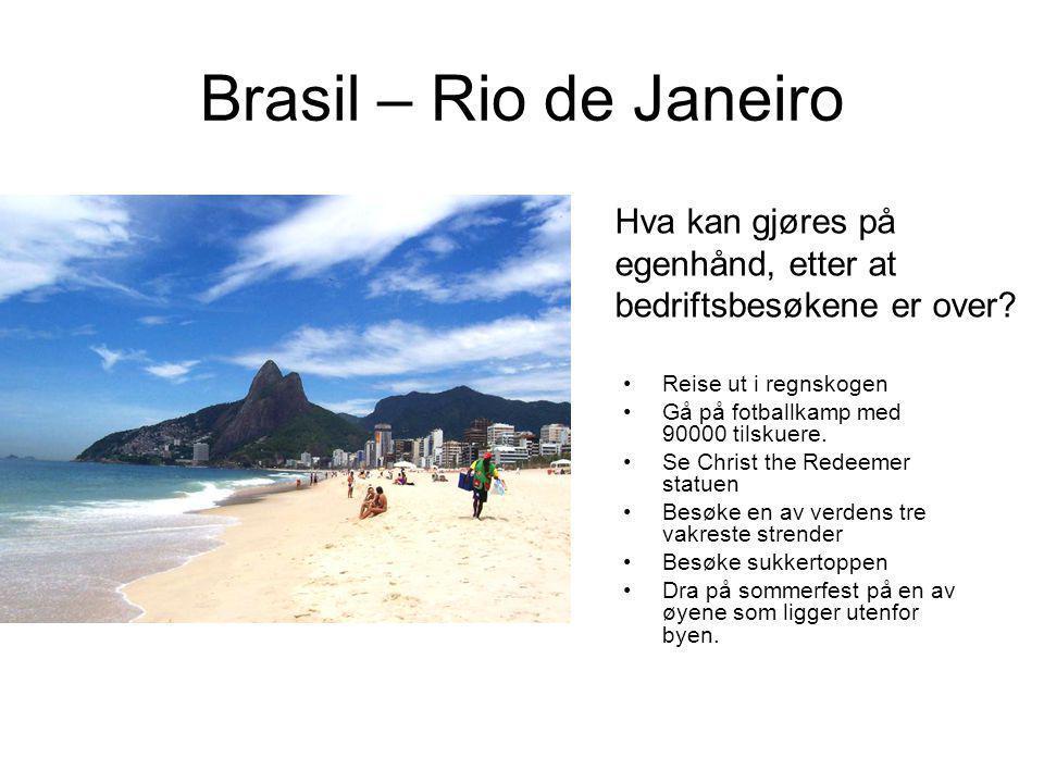 Brasil – Rio de Janeiro Reise ut i regnskogen Gå på fotballkamp med 90000 tilskuere. Se Christ the Redeemer statuen Besøke en av verdens tre vakreste