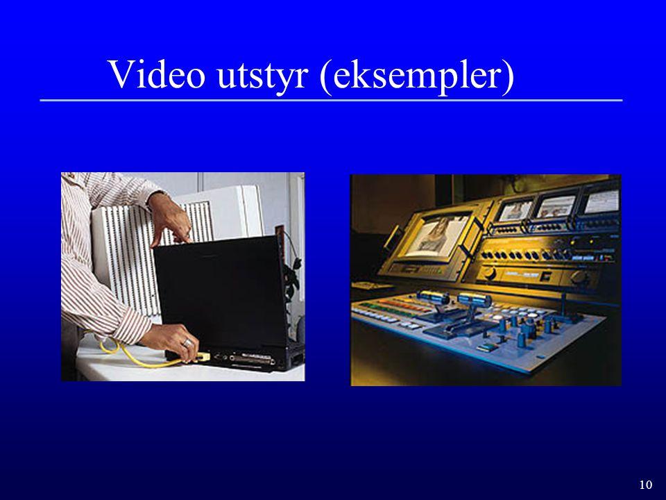 10 Video utstyr (eksempler)