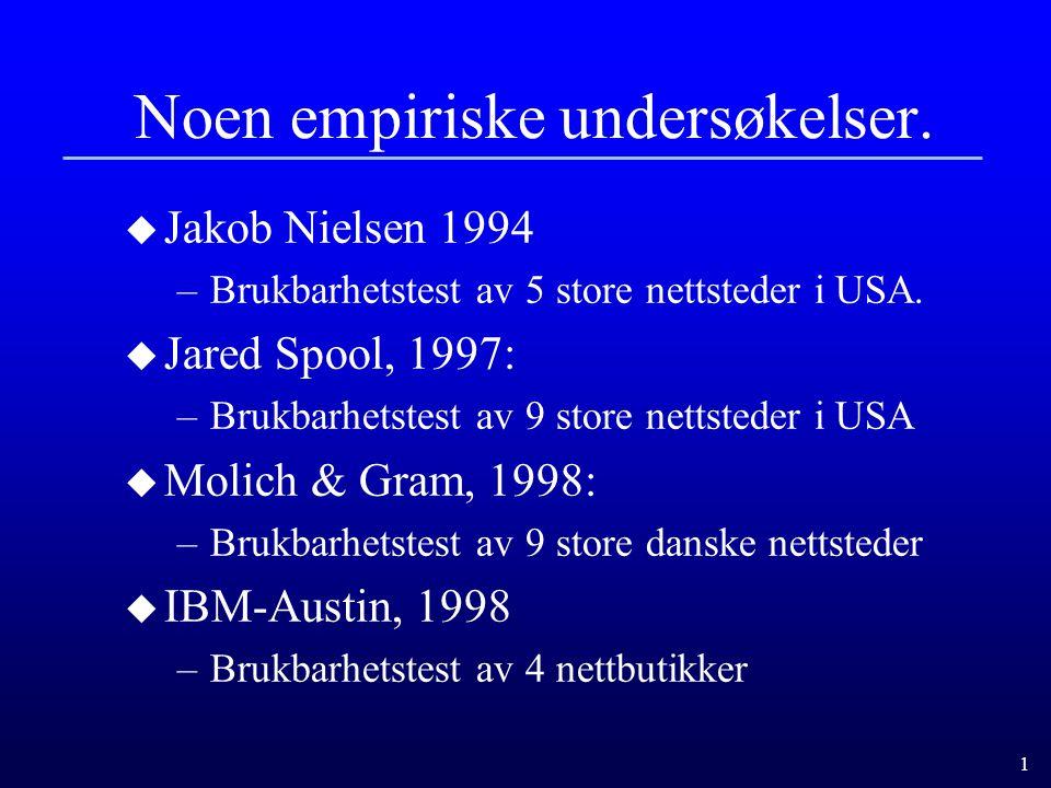 1 Noen empiriske undersøkelser.u Jakob Nielsen 1994 –Brukbarhetstest av 5 store nettsteder i USA.