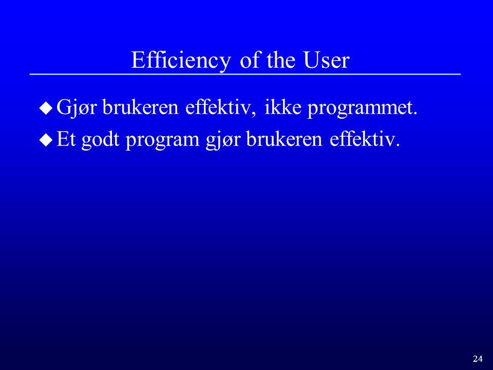 24 Efficiency of the User u Gjør brukeren effektiv, ikke programmet.