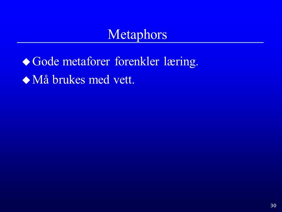 30 Metaphors u Gode metaforer forenkler læring. u Må brukes med vett.