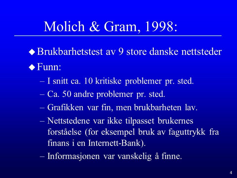 4 Molich & Gram, 1998: u Brukbarhetstest av 9 store danske nettsteder u Funn: –I snitt ca.