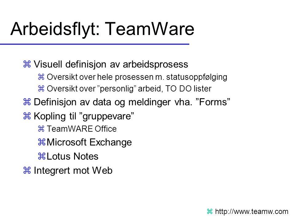 """Arbeidsflyt: TeamWare zVisuell definisjon av arbeidsprosess zOversikt over hele prosessen m. statusoppfølging zOversikt over """"personlig"""" arbeid, TO DO"""