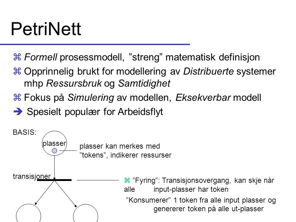 """PetriNett zFormell prosessmodell, """"streng"""" matematisk definisjon zOpprinnelig brukt for modellering av Distribuerte systemer mhp Ressursbruk og Samtid"""