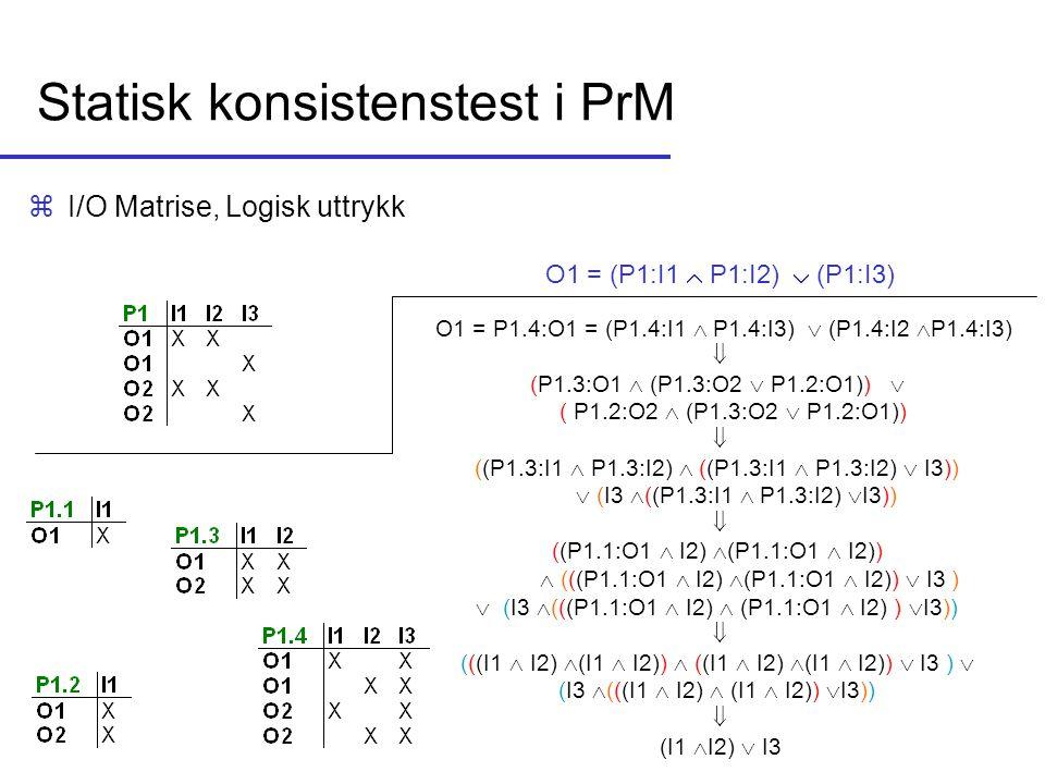 Statisk konsistenstest i PrM zI/O Matrise, Logisk uttrykk O1 = (P1:I1  P1:I2)  (P1:I3) O1 = P1.4:O1 = (P1.4:I1  P1.4:I3)  (P1.4:I2  P1.4:I3)  (P