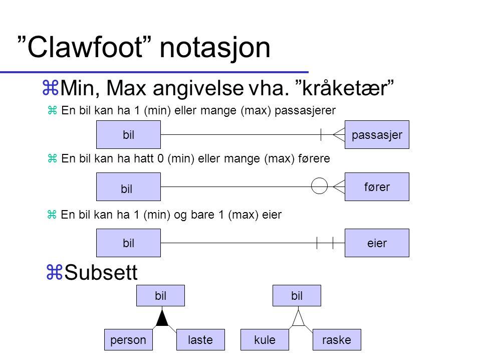 """""""Clawfoot"""" notasjon zMin, Max angivelse vha. """"kråketær"""" bilpassasjer fører bileier z En bil kan ha 1 (min) og bare 1 (max) eier z En bil kan ha hatt 0"""