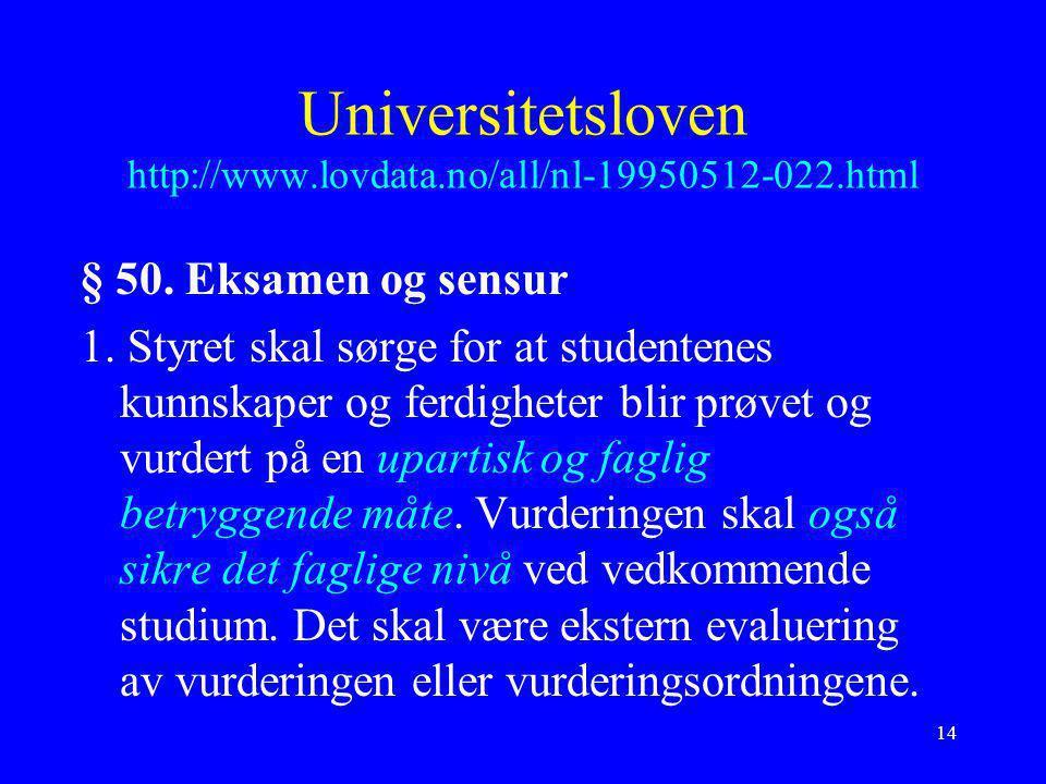 14 Universitetsloven http://www.lovdata.no/all/nl-19950512-022.html § 50. Eksamen og sensur 1. Styret skal sørge for at studentenes kunnskaper og ferd