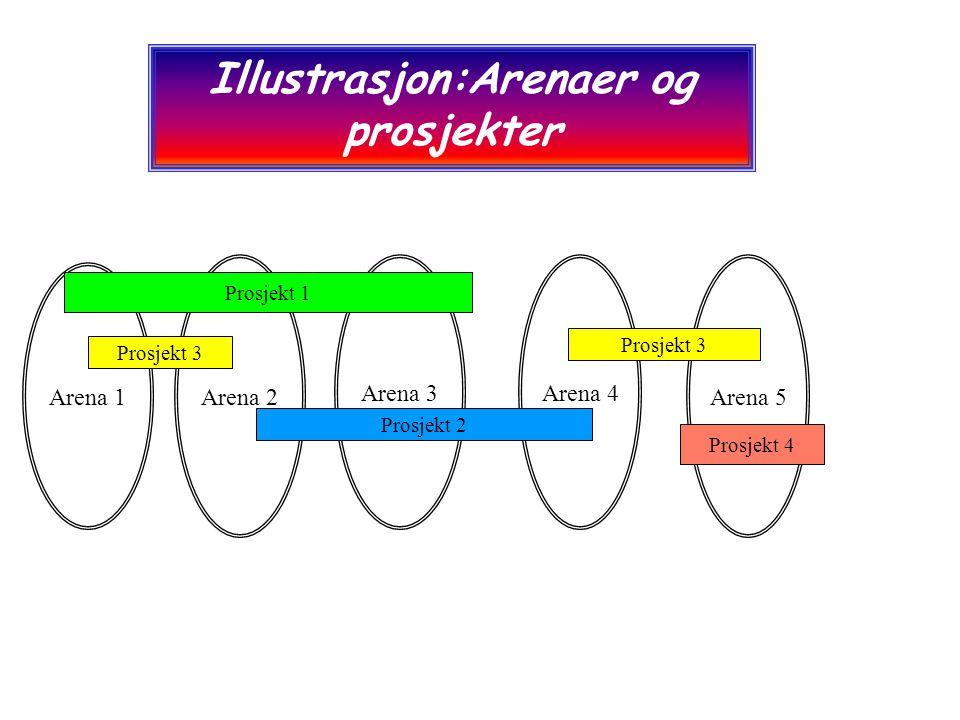 Arena 2 Arena 3Arena 4 Arena 1 Arena 5 Prosjekt 1 Prosjekt 2 Prosjekt 3 Illustrasjon:Arenaer og prosjekter Prosjekt 4
