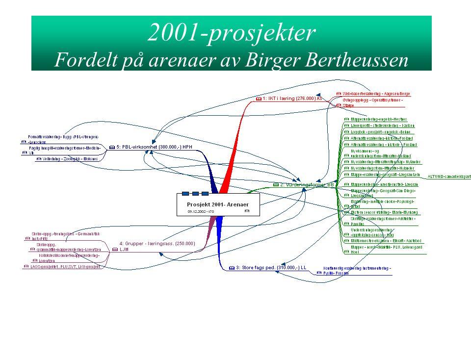 2001-prosjekter Fordelt på arenaer av Birger Bertheussen
