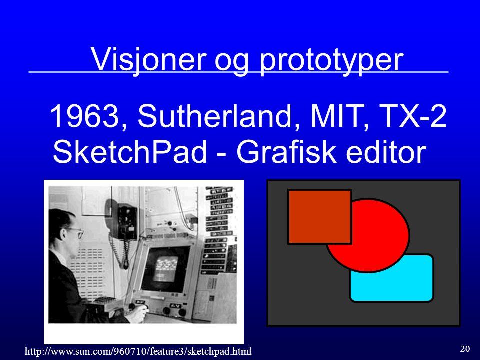 20 Visjoner og prototyper 1963, Sutherland, MIT, TX-2 SketchPad - Grafisk editor http://www.sun.com/960710/feature3/sketchpad.html
