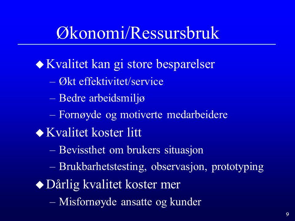 9 Økonomi/Ressursbruk u Kvalitet kan gi store besparelser –Økt effektivitet/service –Bedre arbeidsmiljø –Fornøyde og motiverte medarbeidere u Kvalitet