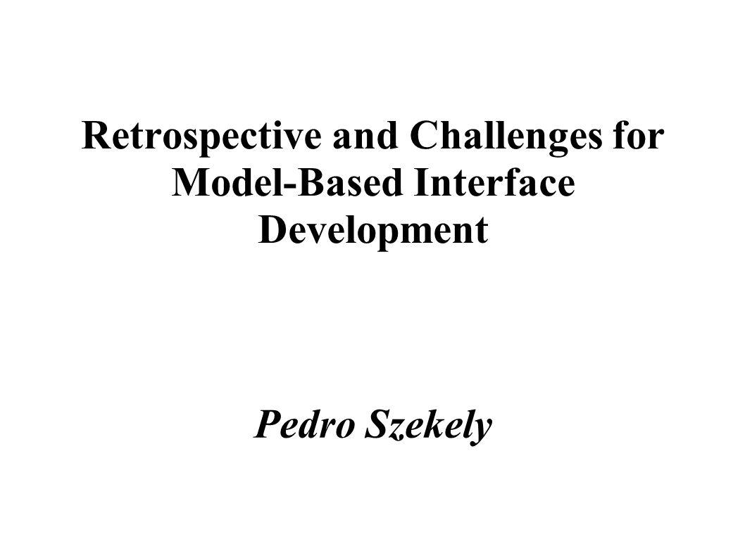 Introduksjon ● Model-based interface development tools er verktøy som benytter seg av fyldige representasjoner (oppgavespisifikasjoner, data -og relasjonsmodeller, presentasjon -og dialogspesifikasjoner etc.) for å hjelpe utviklere i arbeidet med utforming av brukergrensesnitt.