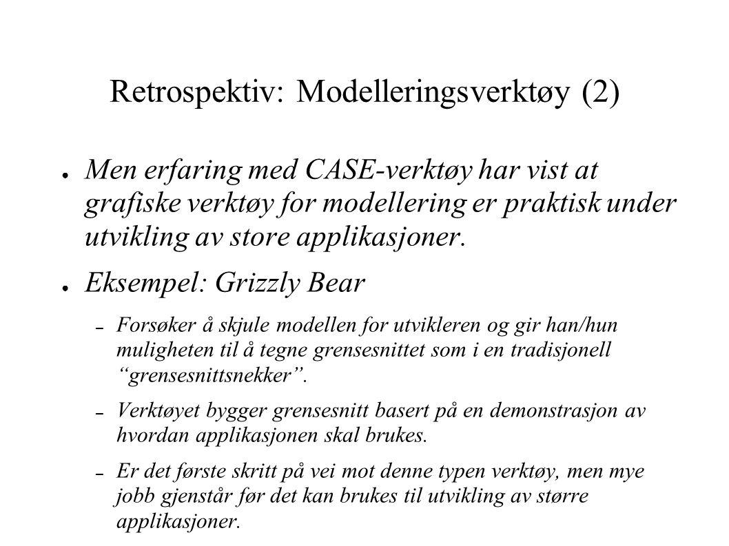 Retrospektiv: Modelleringsverktøy (2) ● Men erfaring med CASE-verktøy har vist at grafiske verktøy for modellering er praktisk under utvikling av stor