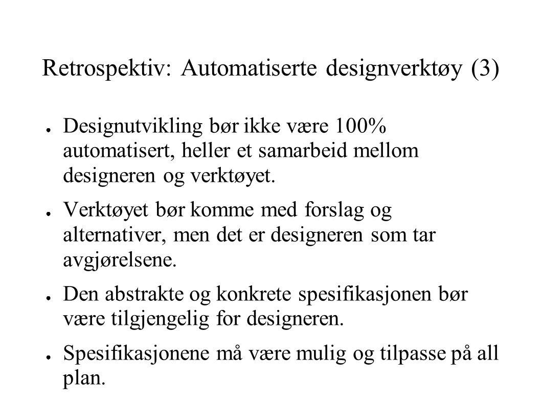 Retrospektiv: Automatiserte designverktøy (3) ● Designutvikling bør ikke være 100% automatisert, heller et samarbeid mellom designeren og verktøyet. ●