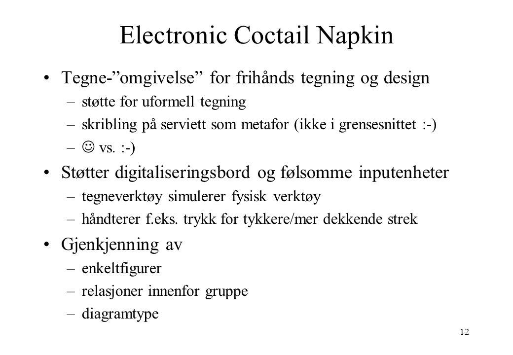 12 Electronic Coctail Napkin Tegne- omgivelse for frihånds tegning og design –støtte for uformell tegning –skribling på serviett som metafor (ikke i grensesnittet :-) – vs.