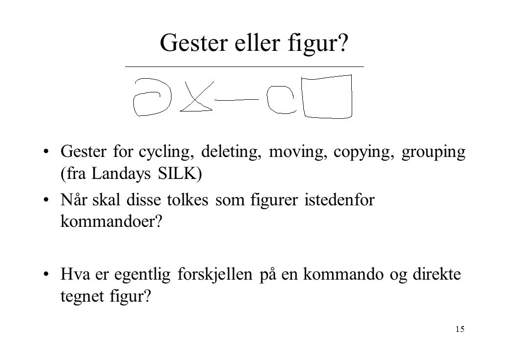 15 Gester eller figur? Gester for cycling, deleting, moving, copying, grouping (fra Landays SILK) Når skal disse tolkes som figurer istedenfor kommand