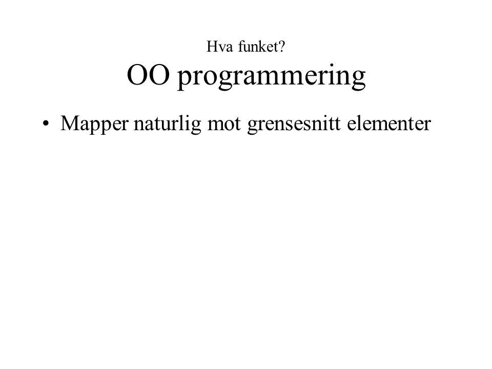 Hva funket? OO programmering Mapper naturlig mot grensesnitt elementer