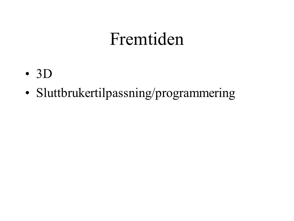 Fremtiden 3D Sluttbrukertilpassning/programmering