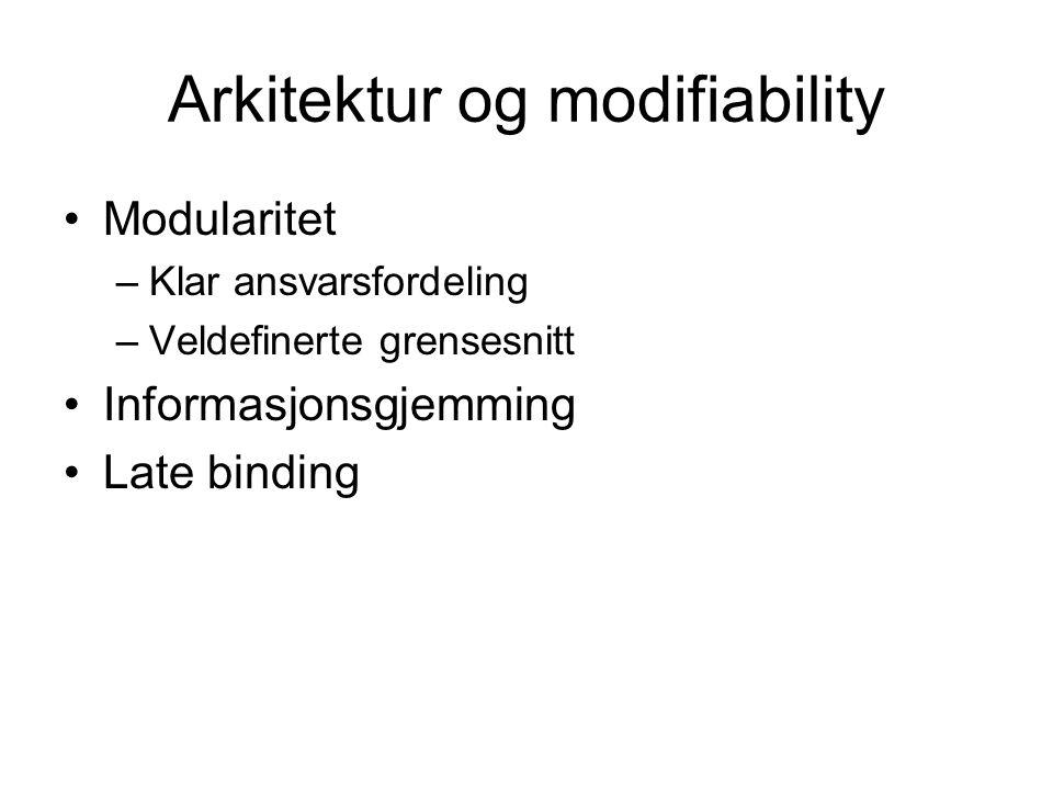 Arkitektur og modifiability Modularitet –Klar ansvarsfordeling –Veldefinerte grensesnitt Informasjonsgjemming Late binding