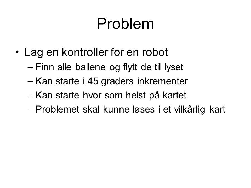 Problem Lag en kontroller for en robot –Finn alle ballene og flytt de til lyset –Kan starte i 45 graders inkrementer –Kan starte hvor som helst på kar