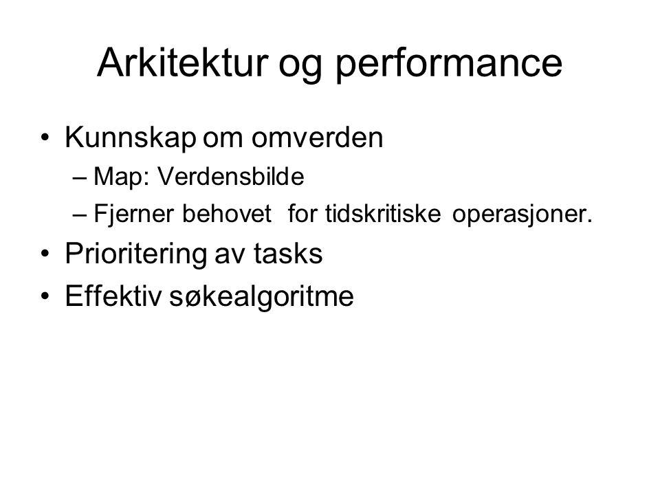 Arkitektur og performance Kunnskap om omverden –Map: Verdensbilde –Fjerner behovet for tidskritiske operasjoner. Prioritering av tasks Effektiv søkeal