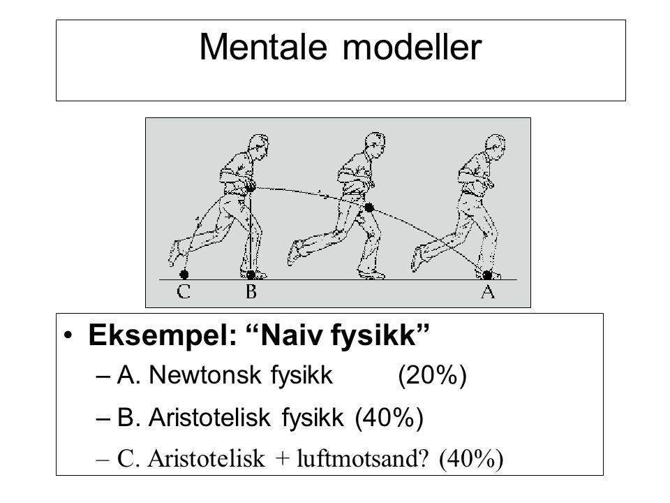 """Mentale modeller Eksempel: """"Naiv fysikk"""" – A. Newtonsk fysikk(20%) – B. Aristotelisk fysikk (40%) –C. Aristotelisk + luftmotsand? (40%)"""
