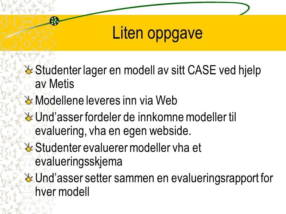 Liten oppgave Studenter lager en modell av sitt CASE ved hjelp av Metis Modellene leveres inn via Web Und'asser fordeler de innkomne modeller til evaluering, vha en egen webside.