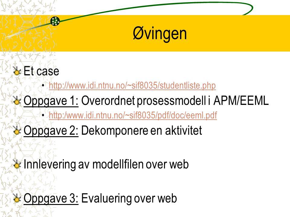 Øvingen Et case http://www.idi.ntnu.no/~sif8035/studentliste.php Oppgave 1: Overordnet prosessmodell i APM/EEML http:/www.idi.ntnu.no/~sif8035/pdf/doc/eeml.pdfhttp:/www.idi.ntnu.no/~sif8035/pdf/doc/eeml.pdf Oppgave 2: Dekomponere en aktivitet Innlevering av modellfilen over web Oppgave 3: Evaluering over web
