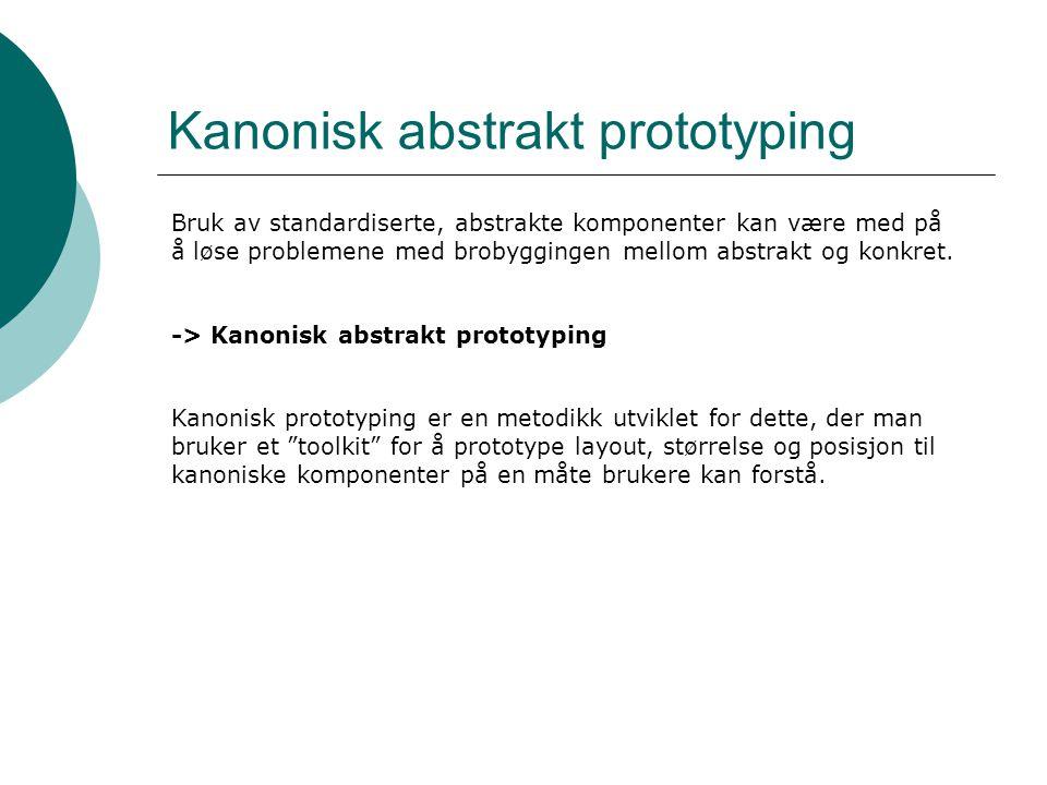 Kanonisk abstrakt prototyping Bruk av standardiserte, abstrakte komponenter kan være med på å løse problemene med brobyggingen mellom abstrakt og konkret.