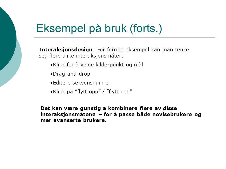 Eksempel på bruk (forts.) Interaksjonsdesign.
