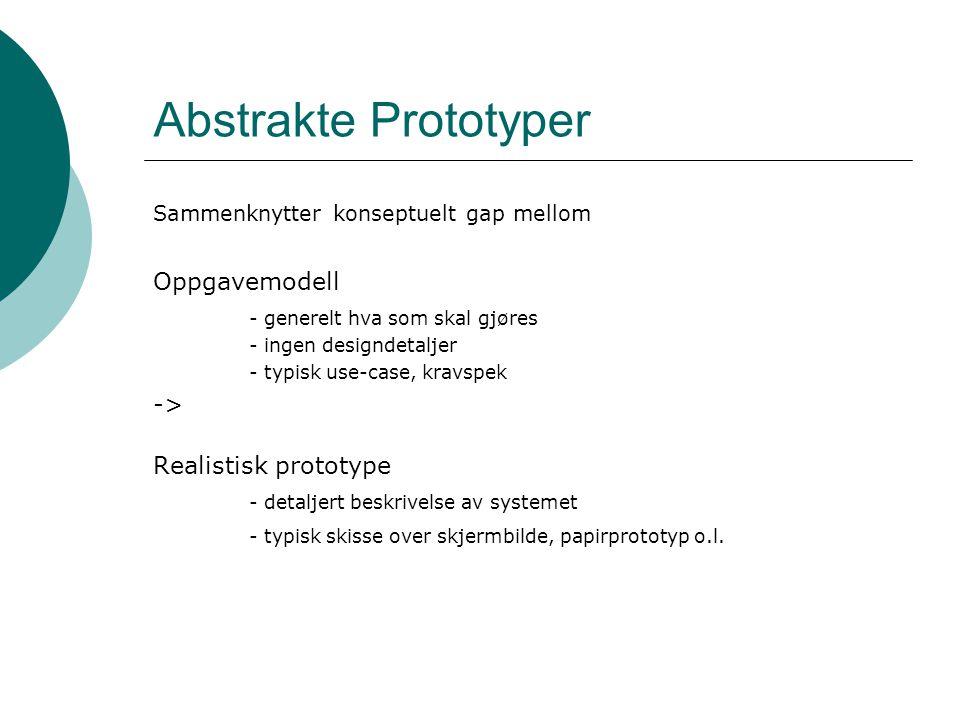 Abstrakte Prototyper Sammenknytter konseptuelt gap mellom Oppgavemodell - generelt hva som skal gjøres - ingen designdetaljer - typisk use-case, kravspek -> Realistisk prototype - detaljert beskrivelse av systemet - typisk skisse over skjermbilde, papirprototyp o.l.