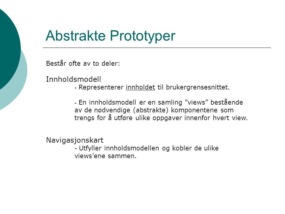 Abstrakte Prototyper Består ofte av to deler: Innholdsmodell - Representerer innholdet til brukergrensesnittet.