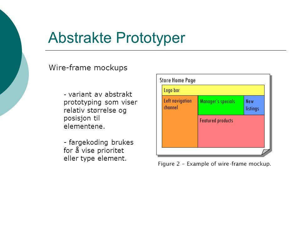 Abstrakte Prototyper Wire-frame mockups - variant av abstrakt prototyping som viser relativ størrelse og posisjon til elementene.