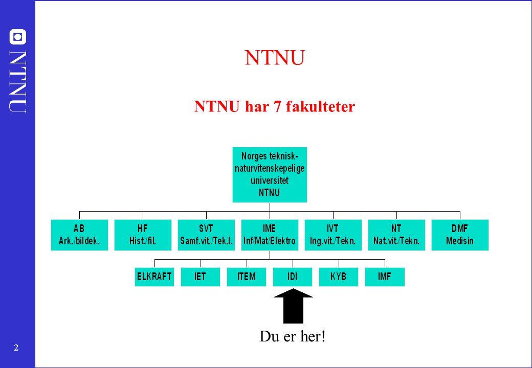 2 NTNU NTNU har 7 fakulteter Du er her!