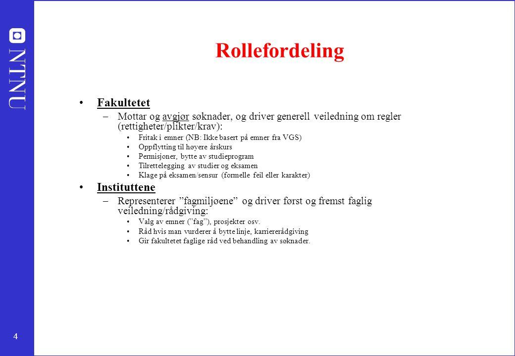 4 Rollefordeling Fakultetet –Mottar og avgjør søknader, og driver generell veiledning om regler (rettigheter/plikter/krav): Fritak i emner (NB: Ikke b