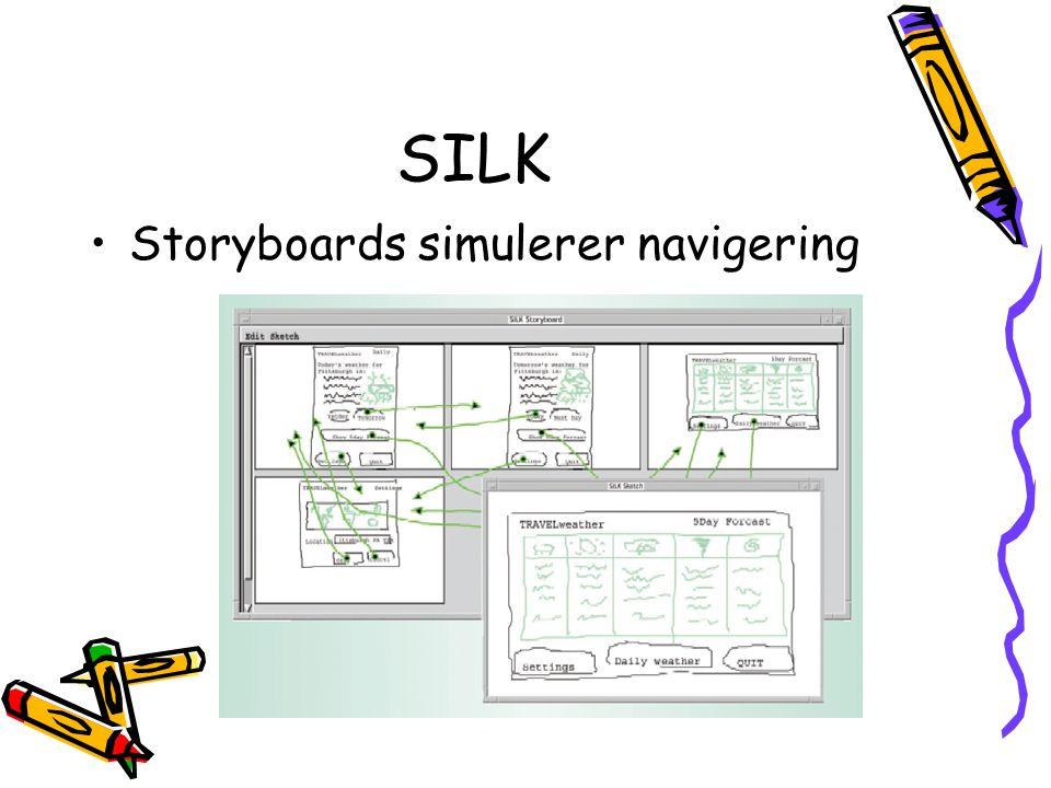 Storyboards Skjermbilder Link med piler Tester navigering Fordel: klikker seg gjennom mer organisert enn ved papirprototyp