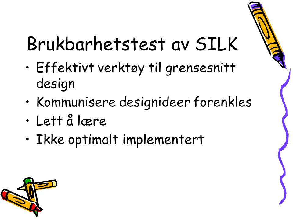 Brukbarhetstest av SILK Effektivt verktøy til grensesnitt design Kommunisere designideer forenkles Lett å lære Ikke optimalt implementert