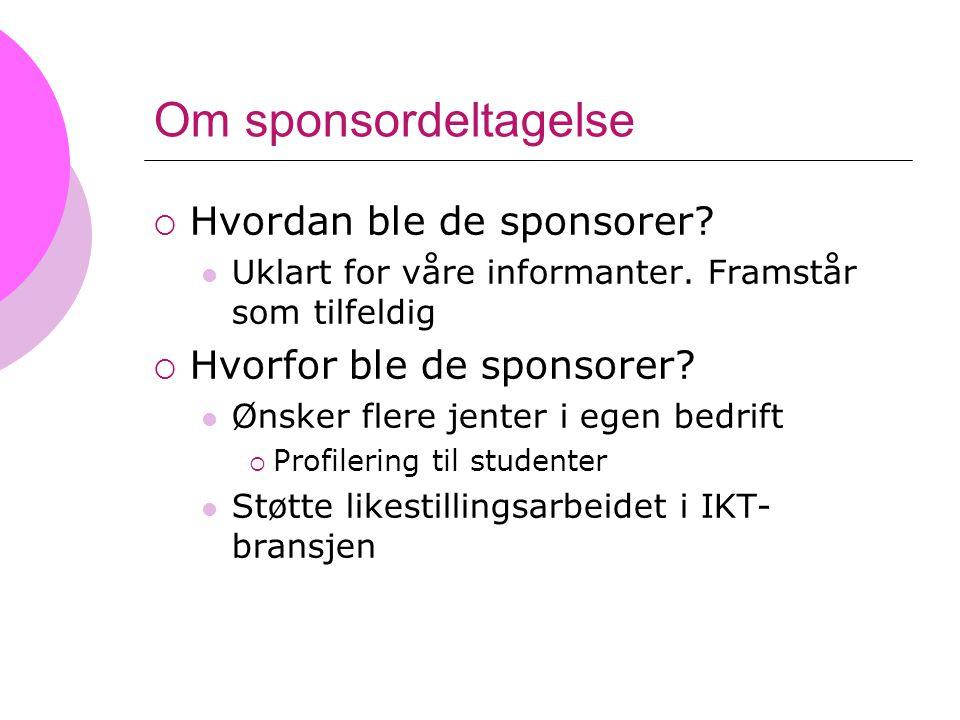 Om sponsordeltagelse  Hvordan ble de sponsorer? Uklart for våre informanter. Framstår som tilfeldig  Hvorfor ble de sponsorer? Ønsker flere jenter i
