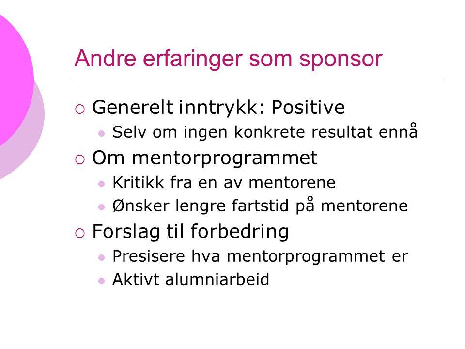 Andre erfaringer som sponsor  Generelt inntrykk: Positive Selv om ingen konkrete resultat ennå  Om mentorprogrammet Kritikk fra en av mentorene Ønsk