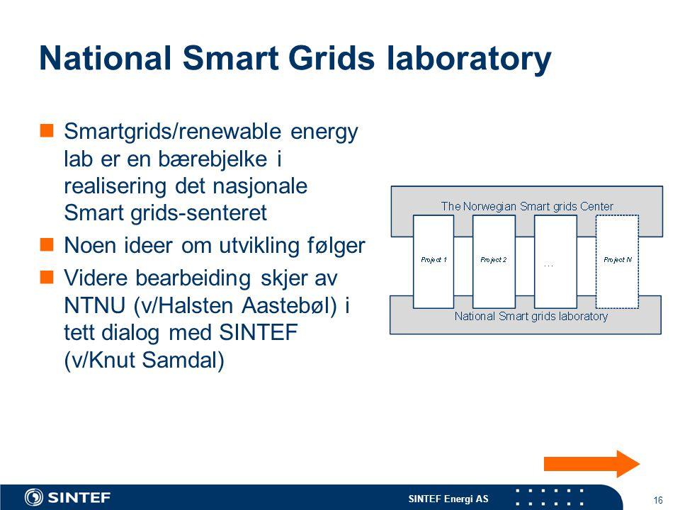 SINTEF Energi AS 16 National Smart Grids laboratory Smartgrids/renewable energy lab er en bærebjelke i realisering det nasjonale Smart grids-senteret Noen ideer om utvikling følger Videre bearbeiding skjer av NTNU (v/Halsten Aastebøl) i tett dialog med SINTEF (v/Knut Samdal)