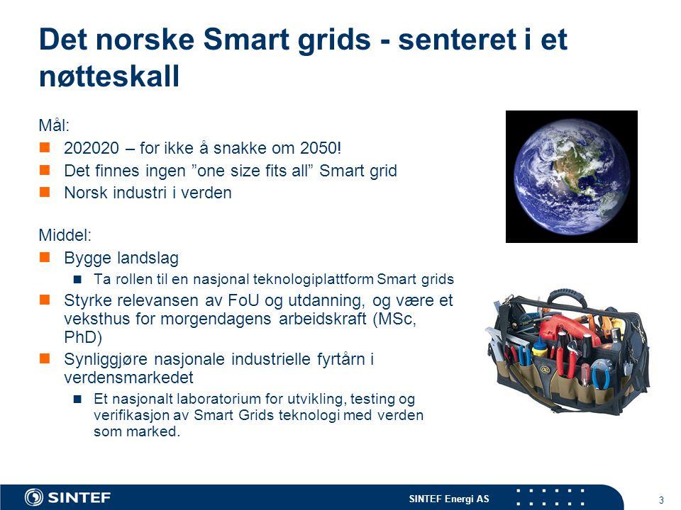 SINTEF Energi AS 3 Det norske Smart grids - senteret i et nøtteskall Mål: 202020 – for ikke å snakke om 2050.