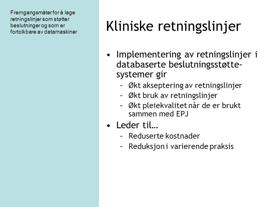 Fremgangsmåter for å lage retningslinjer som støtter beslutninger og som er fortolkbare av datamaskiner Kliniske retningslinjer Implementering av retn