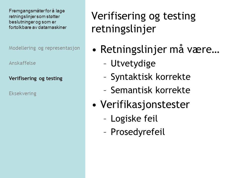 Fremgangsmåter for å lage retningslinjer som støtter beslutninger og som er fortolkbare av datamaskiner Verifisering og testing retningslinjer Retning