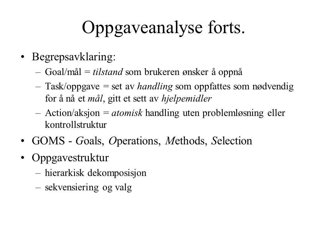 Oppgaveanalyse forts. Begrepsavklaring: –Goal/mål = tilstand som brukeren ønsker å oppnå –Task/oppgave = set av handling som oppfattes som nødvendig f