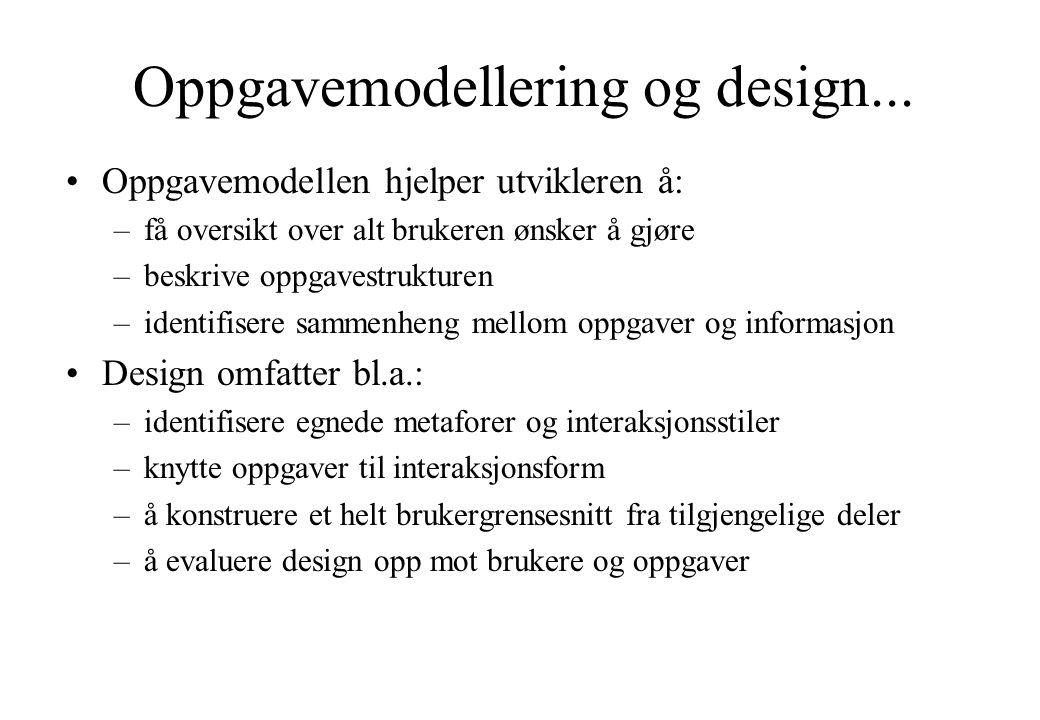 Oppgavemodellering og design... Oppgavemodellen hjelper utvikleren å: –få oversikt over alt brukeren ønsker å gjøre –beskrive oppgavestrukturen –ident