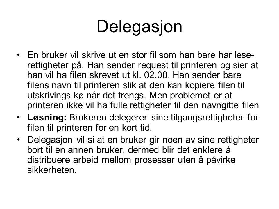Delegasjon En bruker vil skrive ut en stor fil som han bare har lese- rettigheter på.