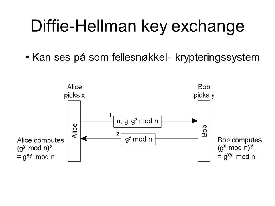 Diffie-Hellman key exchange Kan ses på som fellesnøkkel- krypteringssystem