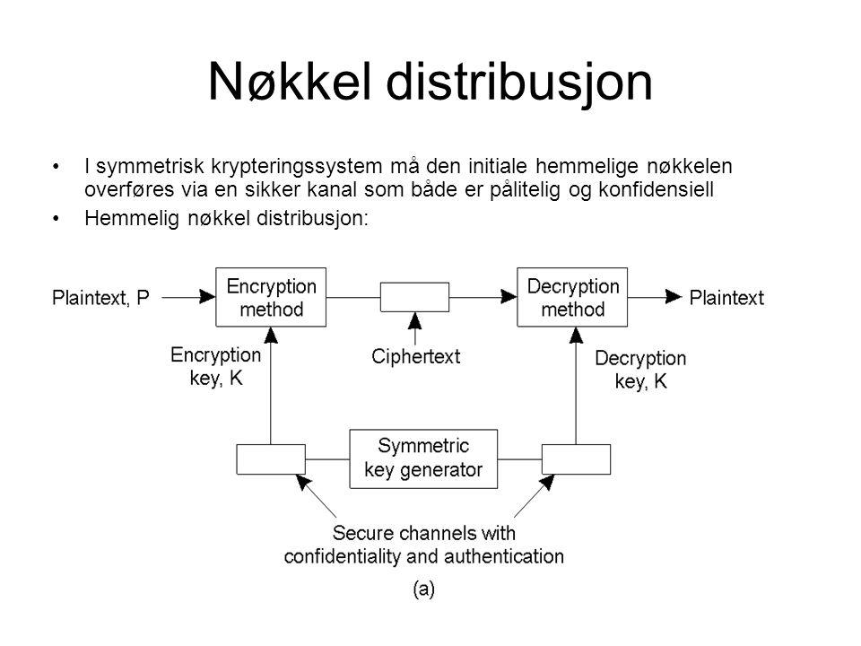 Nøkkel distribusjon I symmetrisk krypteringssystem må den initiale hemmelige nøkkelen overføres via en sikker kanal som både er pålitelig og konfidensiell Hemmelig nøkkel distribusjon: